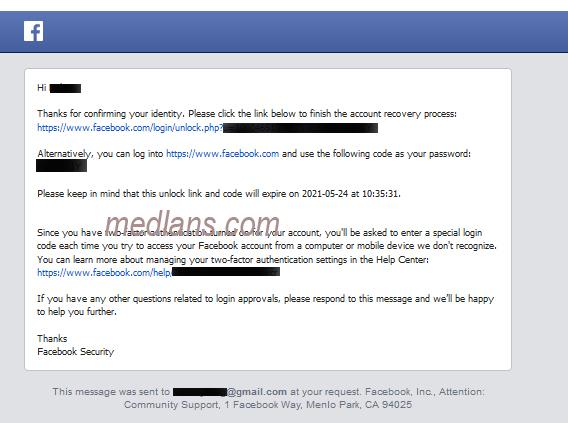 konfirmasi email dari facebook untuk login bermasalah yang berasal dari google authenticator